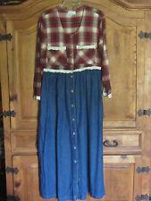 Vintage Denim Cowtown Creations Cowgirl Western Prairie Grunge Plaid Dress