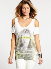 NWT GUESS Cold Shoulder Undefined Graphic T Tee Top Blouse White XS 1 2 3