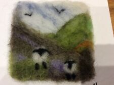 Handmade Needle Felted Unique Picture-Landcape with sheep Framed 5 x 5 inches