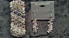 BEBE Dangle Earrings and Bracelet Multi-color Beads New
