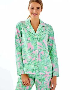 Lilly Pulitzer NWT Woven Pajama Button Up Top Pink Sand Paradise $68 Size M