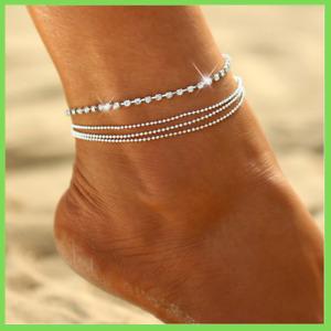 Fußkette Strass 4 reihig Silber Fußkettchen Fußschmuck Perlen Damen NEU