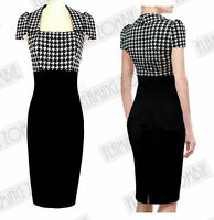 New Black White Rockabilly Vintage Retro Style 1950's Pencil Wiggle Midi Dress