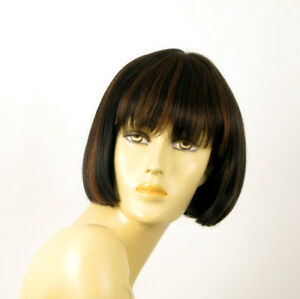 perruque femme 100% cheveux naturel carré méchée noir/cuivré ELISA 1b30