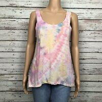 Urban Outfitters Ecote Boho Tank Top Shirt SMALL Pastel Tie Dye Scoop Open Back