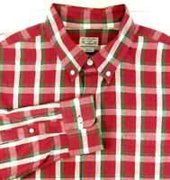 J. Crew Long Sleeve Shirt Mens Size L Large Red Green White Plaid 100% Cotton