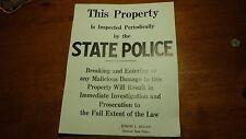 RARE NEW HAMPSHIRE STATE POLICE SIGN COL. JOSEPH L. REAGAN PROPERTY SIGN 1960'S
