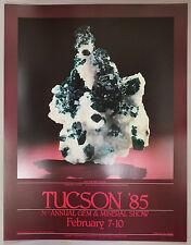 Original 1985 Tucson Gem & Mineral Show Poster DIOPTASE WITH CALCITE