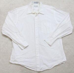 White Dress Shirt Large 16 33 Long Sleeve Cotton Atlantique Classics Broadcloth