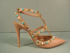 VALENTINO 36 BEIGE ROCKSTUD TURQUOISE STONE T-STRAP POINT TOE SLINGBACK PUMP NEW