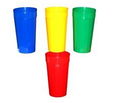 10 Large Tumblers Glasses Cups Mix Red Blue Green Yellow Colors Made America