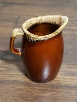 HULL USA PITCHER BROWN DRIP GLAZE POTTERY SMALL 4-1/5 CREAM MILK CREME