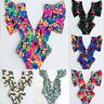 Brazilian Swimwear Ruffle Swimsuit Monokini Bikini Padded Bathing Suit Floral