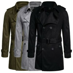 Men's Woolen Jacket Outwear Double Breasted Trench Coat British style Leisure L
