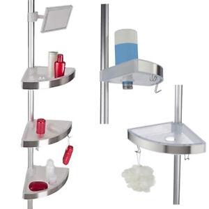 3 TIER Adjustable TELESCOPIC Bathroom CORNER SHOWER CADDY Shelf Rack Organiser