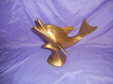 Vintage Solid Brass Jumping Swimming Dolphin Porpoise Sculpture Statue 12' Tall