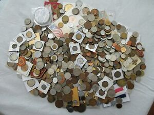 10 POUNDS of OLD WORLD COINS, TOKENS, MEDALS (INTERESTING LOT) SEE PICS>NO RSRV