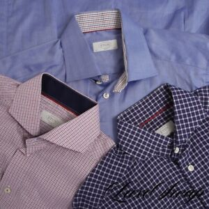 LOT X3 Eton of Sweden Slim Fit Solid Blue Checkered Spread Collar Shirt 15.5 NR