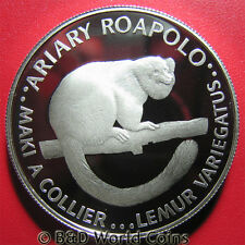 1988 MADAGASCAR 20 ARIARY SILVER PROOF LEMUR WWF WORLD WIDLIFE FUND RARE ANIMAL