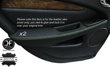 GREEN STITCH 2X REAR DOOR HANDLE ARMREST COVERS FITS JAGUAR X-TYPE 2001-2009
