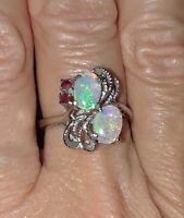 ESTATE Vintage Genuine Opal & Ruby 10K White Gold Fiery Opal Blue Green Red