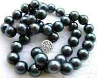 "Beautiful 8mm Black Green South Sea Shell Pearl Round Beads Necklace 18"" AAA"