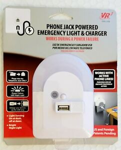 (2) VR3 Phone Jack Powered Emergency Light & Charger Battery Backup