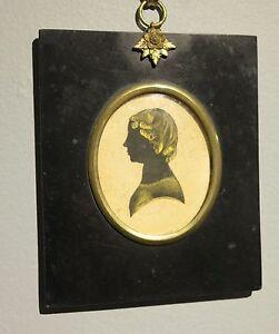 c.1825 antique folk art silhouette beautiful young woman gold paint