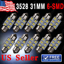 10 X White 31MM Festoon Dome Map Interior LED Light 3528 6-SMD Lamp DE3175 3022