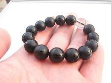 37g Natural Obsidian Crystal Bead Carve Mantra Om Mani Padme Hum when Bracelet