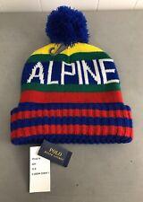 NWT Polo Ralph Lauren Blue Pom Pom Alpine Downhill Ski Beanie Skull Knit Cap Hat