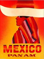 Mexico by Airplane Mexican Sombrero Vintage Travel Ad Art Print