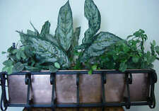 Copper Window Planter With Wrought Iron Frame