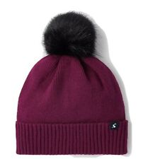 Joules Womens Snowday Knitted Hat - Berry Blush Pom Pom - One Size Bnwt