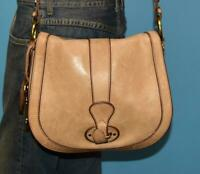 FOSSIL VINTAGE REISSUE Rugged Brown Leather Flap Cross-body Messenger Purse Bag