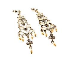 """Monet Crystal Pearl Dangle Chandelier Earrings .75x2.5"""""""