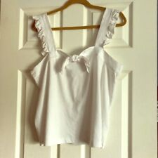 J.Crew Bow Top w/ Embroidered Trim White Size Large