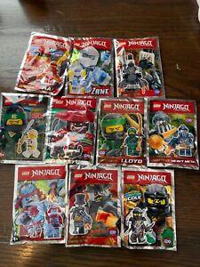 LEGO Lot of 10 Ninjago Foil Packs Lloyd, Jay, Cole, Zane, Kai, Nya, And More
