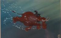 Disney:Tarzan Terk and Tantor Original Key Set Up Cel On Painted Background