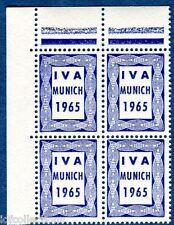 vignette expérimentale d'expo Munich 1965 IM 1 bleu IVA bloc 4 coin de feuille