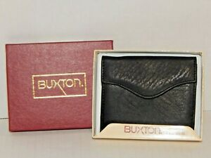 BUXTON - Black Top Grain Cowhide Leather Small Billfold Wallet - NWT in Gift Box