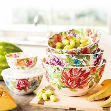 Melamine 10-Piece Bowl Set with Lids, Floral Design