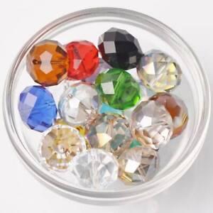 10 Stück 18x13mm Große Rondelle Facettiert Kristall Glas Lose Perlen 50+ Farben