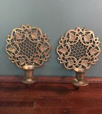 Honeycomb & Leaf Pattern Solid Brass Wall Sconces Made India Vintage