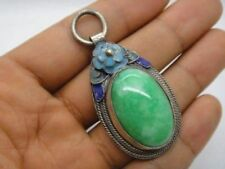 China inlay tibet-silver green jade enamel Cloisonne blue Flower Pendant a02