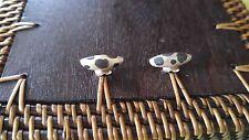 PRETTY Vintage earrings handmade artisan sterling silver dots folded Modernist