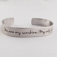 294e30f2107 You Are My Sunshine Engraved Cuff Bracelet - Stainless Steel - Double-sided  Song