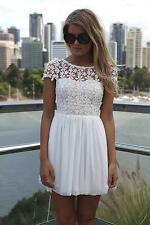 Lace Trim Short Sleeve Backless Cocktail Evening Party Chiffon Mini Dress A016