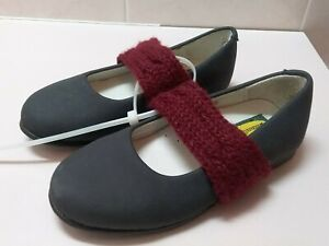 New BOUTACCELLI CLASSICA Toddler Girl Gray leather Burgundy knit strap shoe EU25
