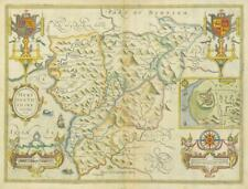 1673 ORIGINAL Antique Map - WALES MERIONETHSHIRE by John Speed Bassett Chiswell